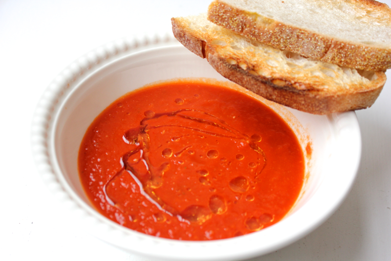 Tomato soup with lemon oil