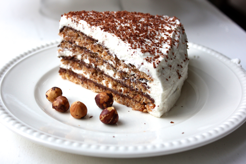 Flourless Hazelnut and Chocolate Layer Cake