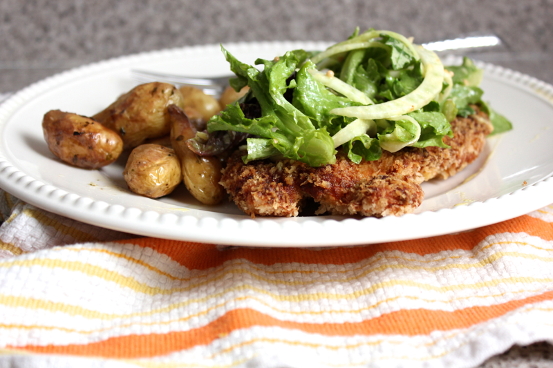 Crusty Dijon Chicken with Fennel Salad